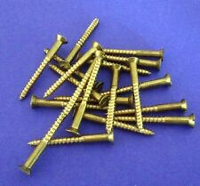"10 x Solid Brass Countersunk Slotted Wood Screws 12g x 2 1/4 "" Australian Made"