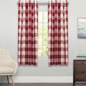 "Courtyard Grommet Plaid Window Curtain Single Panel 63""x53"""