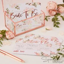 BRIDE TO BE ADVICE CARDS -Hen Party Guest Book Alternative/Game-Rose Gold/Floral