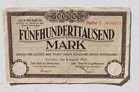 26176 Billet Dresden 4.8.1923 500.000 Mark Inflation Argent D'Urgence Papier