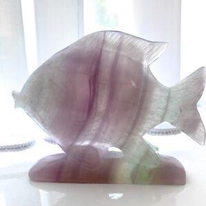 Natural Gemstone Fluorite Handcarved Fish Large Ornament