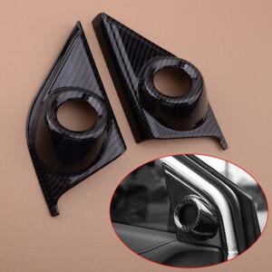 Pair Fit For Honda CRV CR-V Carbon Fiber Style Front Door Speaker Cover Trim
