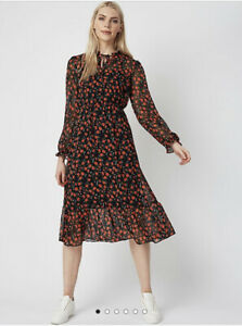 George Bnwt Red Floral Tie Neck Boho Retro Lined Tiered Midi Dress Size 10