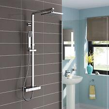 "8"" Twin Heads Square Thermostatic Shower Bathroom Mixer Valve Set Handheld Spray"