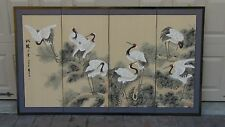 CHINESE WATERCOLOR ON SILK PAINTING 4 PANEL SCREEN OF CRANES ,SEALED