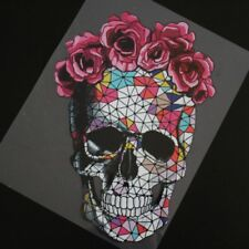 Flower Skull DIY Patches Heat Transfer Stickers  Iron On Clothes Appliques Decor