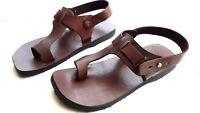 Ring-Toe Strap Ankle Boho Sandal Handmade Brown Leather Open Roman Flat Men's US