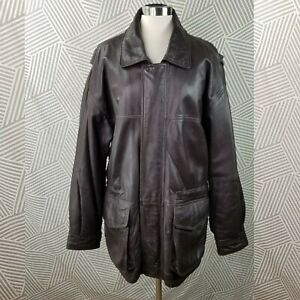 Jos A Bank Flight Jacket Bomber Leather Large Top Gun Cosplay Costume Coat Brown