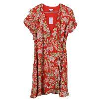 J Jill Womens Multicolor Floral Print Ruffle Wrap Dress Size Small Petite