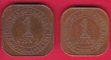 R* MALAYA 1 CENT 1941 I & 1943 VF/XF DETAILS #12088