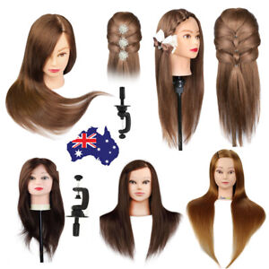AU 100% Real Human Hair Hairdressing Mannequin Head Training Doll Model & Clamp