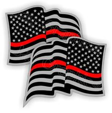 FIREFIGHTER American Flag Hard Hat Stickers Flags Decals  Helmet Thin Red Line