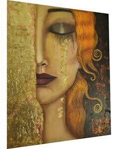 gustav klimt gold tears golden canvas  print painting art vintage framed
