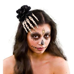 Skeleton Rose HAIR CLIP Hand Bones Fabric Flower Halloween Fancy Dress Female