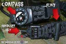 Tactical Escape & Survive Paracord Bracelet  Compass Fire Starter Handcuff Key