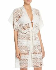 Gottex Pearl Goddess Crochet Kimono Swimsuit Cover-Up Ivory Size L $198