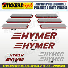 Kit completo 8 adesivi camper HYMER loghi M.1 stickers caravan roulotte decal