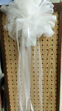 12 White Tulle Pew Bows WITH SATIN SHEER STREAMERS RUSH ORDERS AVAIL