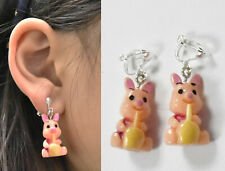 Pair Pig Earrings Clip on Earrings Stud Kids Womens GIRLS clipon Pink Cute