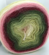 Cake Mohair Wool Acr Yarn #63718 Sage Willow Green Pink Red Wine Cream 150g 885y