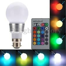 B22 3W Colors Changing RGB LED Light Bayonet Bulb Remote Control Globe Lamp