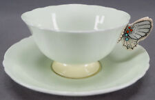 Paragon Celladon Green Art Deco Butterfly Handle Bone China Tea Cup & Saucer A