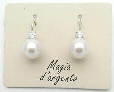 Orecchini a monachella in argento 925  perle 10 mm zirconi da Gioielleria Amadio