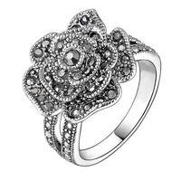 Flower Women Wedding Engagement Ring 925 Silver Black Sapphire Ring Size 6-10