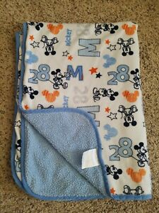 Disney Mickey Mouse Crib Blue Orange Gray 28 Velour Sherpa Baby Blanket