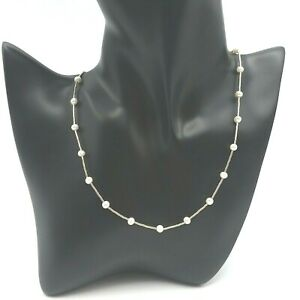 """Sterling Silver 925 Fresh Water Pearl Station Collar Necklace Toggle Clasp 16"""""""