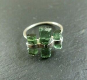 Turmalin Rohstein Ring 925 Sterlingsilber Größe 56 Handarbeit Unikat R1528
