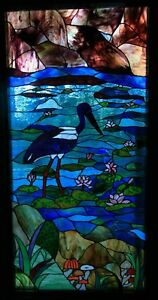 Australian JABIRU & WATER LILY DESIGN Stained Glass Window or ENTRANCE DOOR Bird