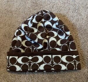 Coach Beanie Winter Hat Brown Unisex One Size Fits All With Defect