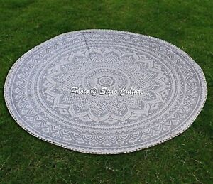 "Hippie Beach Throw Bohemian Tapestry Yoga Mat 72"" Indian Star Round Mandala"