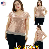 US Women Oversize Tops Sequin Print Short Sleeve Blouse T-Shirt V-Neck L-5XL New
