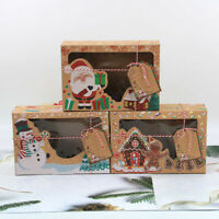 12X Christmas Cookie Box Santa Snowman Biscuit Packaging Container Holder Case
