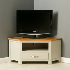 Mullion Painted Corner TV Stand / Oak Corner TV Unit / Painted Multimedia Unit