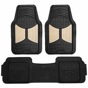 Beige Black Floor Mats 3pcs Set All Weather Heavy Duty Car Mats Universal Fit
