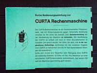 Seltene Original Anleitung CURTA - Rechenmaschine (doppelseitiges Faltblatt)