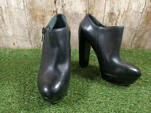 Guess Womens Ladies Heel Black Leather Shoes size 4 UK