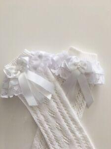 Handmade white bows & lace frilly knee high girls socks