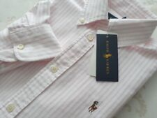 RALPH LAUREN Polo  Damen Kurzarmhemd Bluse rosa white  UVP: 120€  NEU