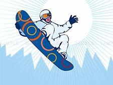 Pittura illustrazione SPORT SNOWBOARD MONTAGNA AIR Arte Poster Stampa bmp10536