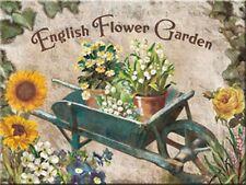 English Flower Garden Blumengarten Nostalgie 6x8 Blech Kühlschrank Magnet EMAG33