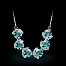 Woman Genuine 18K Platinum Plated Austrian Blue Crystal Necklace TI00137