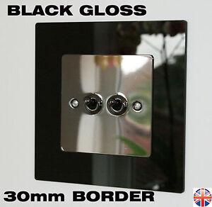 Light Switch Surrounds - Gloss Black - 30mm BORDER - Finger Plates TOP SELLER