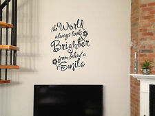 "30"" WORLD LOOKS BRIGHTER BEHIND SMILE QUOTE FLOWER VINYL DECAL STICKER ART"