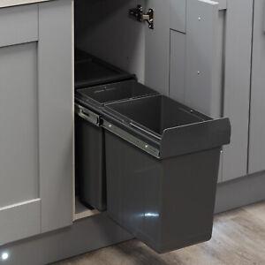 30L Pull Out Kitchen Waste / Recycling Bin 300mm Unit | 1x10L 1x20L | Hinge Door