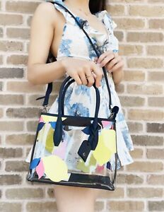 Kate Spade Eva Lemon Zest See through Transparent Small Satchel Bag Handbag