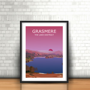 Grasmere Sunset Art Print, The Lake District National Park Landscape, Hiking